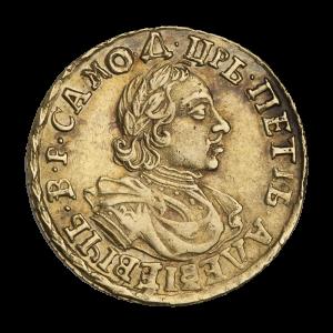 Два рубля 1718 г. Царь Петр I. Красный монетный двор в Москве.