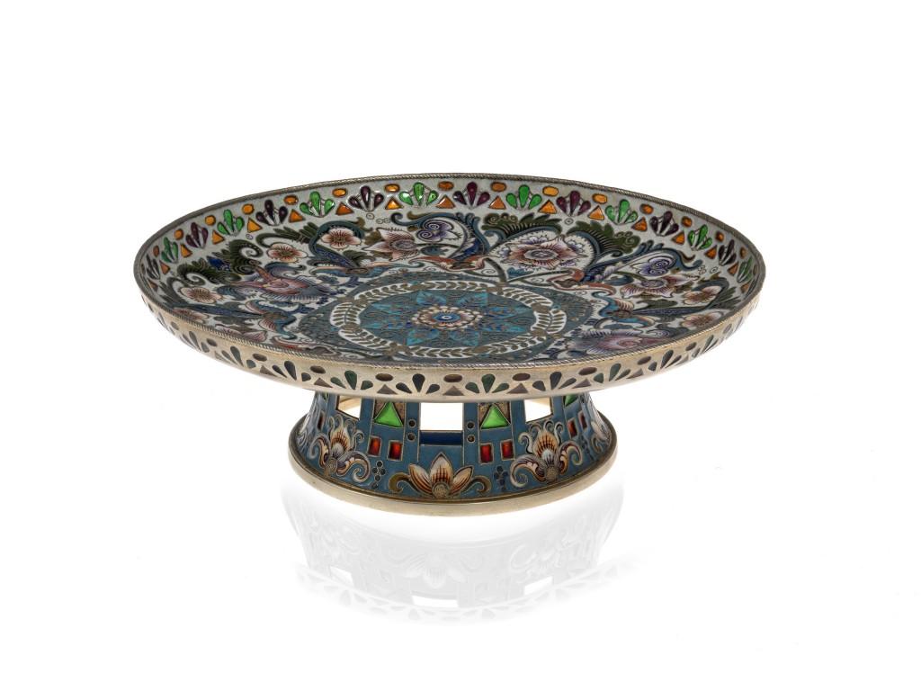 «Серебряная ваза с позолотой и перегородчатой эмалью», 1908–1917