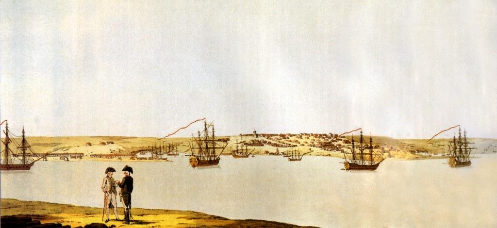 ???. 2. ??? ?? ?????????? ь и русскую эскадру. Раскрашенная гравюра по оригиналу Г. Гейслера. 1794